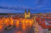 Prague Old Town Square And Church Of Mother Of God Before Tyn In Prague, Czech Republic. Architectur poster