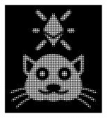 Halftone Pixelated Crypto Kitty Icon. White Pictogram With Pixelated Geometric Structure On A Black  poster