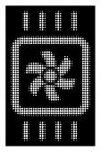 Halftone Pixelated Chip Cooling Icon. White Pictogram With Pixelated Geometric Pattern On A Black Ba poster