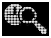 Halftone Dotted Find Time Icon. White Pictogram With Dotted Geometric Structure On A Black Backgroun poster