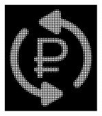 Halftone Pixelated Refresh Rouble Balance Icon. White Pictogram With Pixelated Geometric Structure O poster