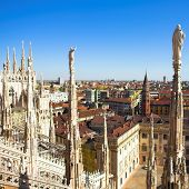 stock photo of milan  - Summer panorama from Duomo roof - JPG