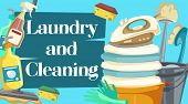 House Cleaning, Laundry And Cleaning Items. Spray, Brush And Sponge, Detergent Bottle And Broom, Mop poster