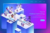 Future Medical Technology Isometric Web Banner With Medical Personnel Using Robotic, Augmented And V poster