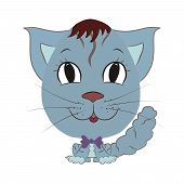 Cute Little Tabby Kitten With Big Head And Bow Tie poster