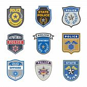 Police Shield. Government Agent Badges And Police Department Officer Security Vector Symbols. Badge  poster