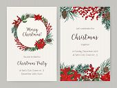 Set Of Christmas Flyer Or Party Invitation Templates Decorated With Coniferous Tree Branches And Con poster