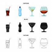 Vector Design Of Drink And Bar Symbol. Collection Of Drink And Party Vector Icon For Stock. poster