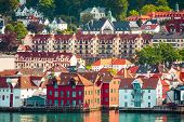 Bergen, Norway Cityscape With Colorful Traditional Houses And Fjord poster