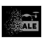 Airdrone Sale Icon With Dissolved Effect On Black Background. White Sparks Are Composed Into Vector  poster