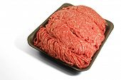 stock photo of ground-beef  - Fresh ground beef on a styrofoam tray - JPG