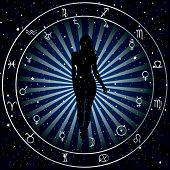 Astrological Zodiac Horoscope Background With Silhouette Of Woman. Astrology Concept Poster poster