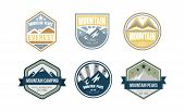 Mountain Peaks Logo Design Set, Camping, Hiking, Expedition Retro Badges And Labels Vector Illustrat poster