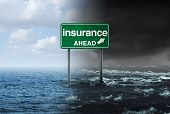 Insurance Concept And Hurricane Or Storm Property Damage Financial Risk Idea And Homeowners Insured  poster