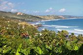 stock photo of greater antilles  - A view of the town and the great surfer beach a Bathsheba - JPG
