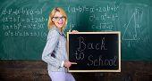 Teacher Woman Hold Blackboard Inscription Back To School. It Is School Time Again. School Teacher Ha poster