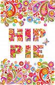 Colorful hippie flowers lettering print and floral border for summery t shirt design on white backgr poster