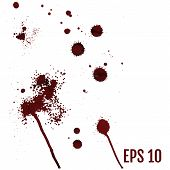 Set Of Various Dripping Blood Splashes, Collection Of Dripping D poster