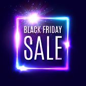 Black Friday Text On Dark Blue Neon Background. Discount Shopping Web Banner. Modern Neon Signage. A poster