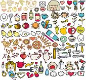foto of baby spider  - Mix of doodle images in vector - JPG