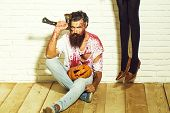 Halloween Bearded Zombie Man, Long Beard, Brutal Caucasian Hipster With Moustache On Serious Face In poster