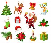 Christmas Icons Signs For Winter Holiday. Decorated Xmas Tree And Deer, Jingle Bell And Snowman, Sto poster