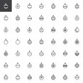Christmas Bauble Decorations Outline Icons Set. Linear Style Symbols Collection, Line Signs Pack. Ve poster