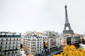 Beautiful Cityscape View With Residential Buildings And Eiffel Tower During The Daylight In Paris poster