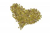 Lot Of Whole Dry Green Mung Beans Folded Like A Heart Flatlay Isolated On White Background poster