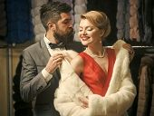 Business Meeting, Moneybags. Couple In Love Among Fur Coat, Luxury. Date, Couple, Love, Man And Woma poster