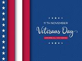 Veterans Day Greeting Card. 3d Layered Effect Of American Flag With Greeting Text On Dotted Backgrou poster