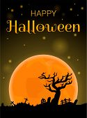 Happy Halloween Full Moon Concept Background. Cartoon Illustration Of Happy Halloween Full Moon Vect poster