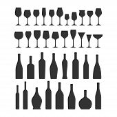 Various Types Wine Glasses And Bottles Icon Set. Wine Glass And Bottle Vector Black Silhouette Colle poster