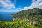 Green Coastline Of Flores Island, Azores, Portugal poster