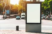 Outdoor Empty Informational Board Placeholder With A Busy Road Behind; White Blank City Billboard Mo poster