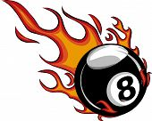 Flaming Billiards Eight Ball Vector Cartoon Burning With Fire Flames poster