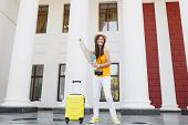 Joyful Traveler Tourist Woman In Casual Clothes With Suitcase, Retro Vintage Photo Camera Hold City  poster