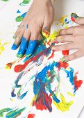 image of finger-painting  - child painting with hands - JPG