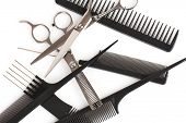 set of combs and scissors, hairstyle accessories