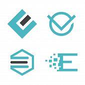 Abstract Letter E Logo Vector Set, Best Modern Elegant Letter E Logo Concept, Letter E Logo poster