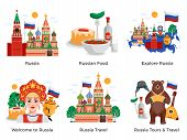 Russia Travel Tours Attractions Culture Landmarks 6 Flat Compositions Set With Traditional Food Symb poster