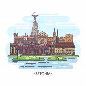 Estonia Architecture Landmarks. Estonian Monuments, Travel And Tourism poster