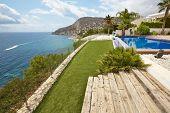 Spanish Mediterranean Coastline With Swimming Pool. Alicante. Summer In Spain poster