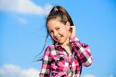 Kid Girl Checkered Fashionable Shirt Posing Sunny Day Blue Sky Background. Fashion Model Girl. Styli poster