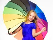 Stay Positive Fall Season. Ways To Brighten Your Fall Mood. Girl Child Ready Meet Fall Weather With  poster