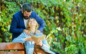 Romantic Relations Concept. Park Best Place For Romantic Date. Couple In Love Romantic Date Nature P poster