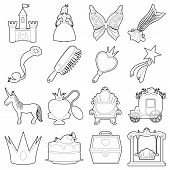Princess Accessories Icons Set. Outline Illustration Of 16 Princess Accessories Icons For Web poster