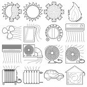 Heat Cool Air Flow Tools Icons Set. Outline Illustration Of 16 Heat Cool Air Flow Tools Icons For We poster