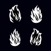 Fire Collection Image White Black, Fire Vector, Fire Icon Background Black poster