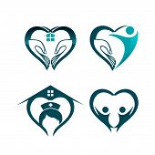 Medical Logo Set, Medical Center Logo,heart Logo, Health Logo, Doctor Logo, Medicine Logo, Medical I poster
